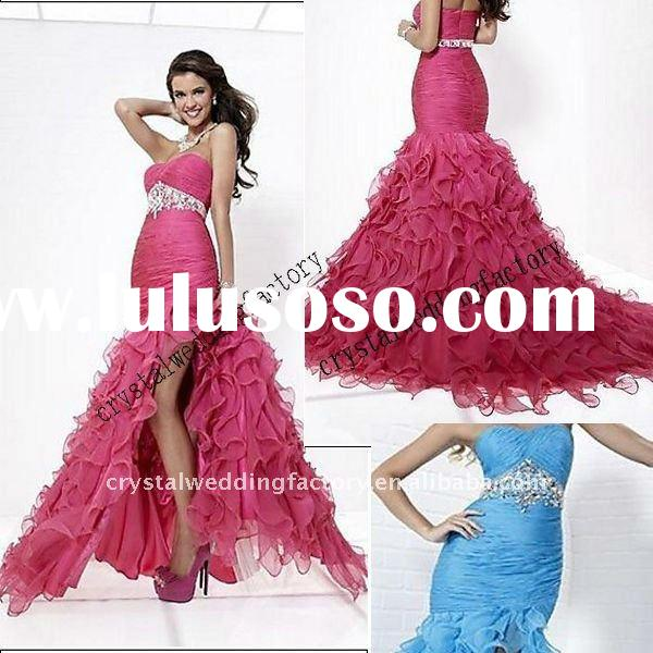 New arrival 2012 strapless ruched beaded ruffled organza high low custom-made prom dress CWFap3439