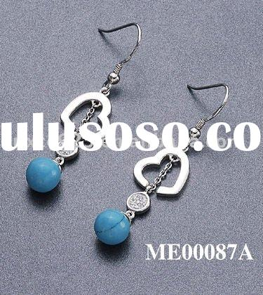 New arrival 925 sterling silver micro pave setting jewelry earrings with turquoise