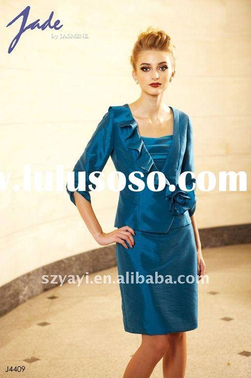 New arrival royal blue taffeta with a jacket long sleeve off-shoulder sheath knee-length mother of b