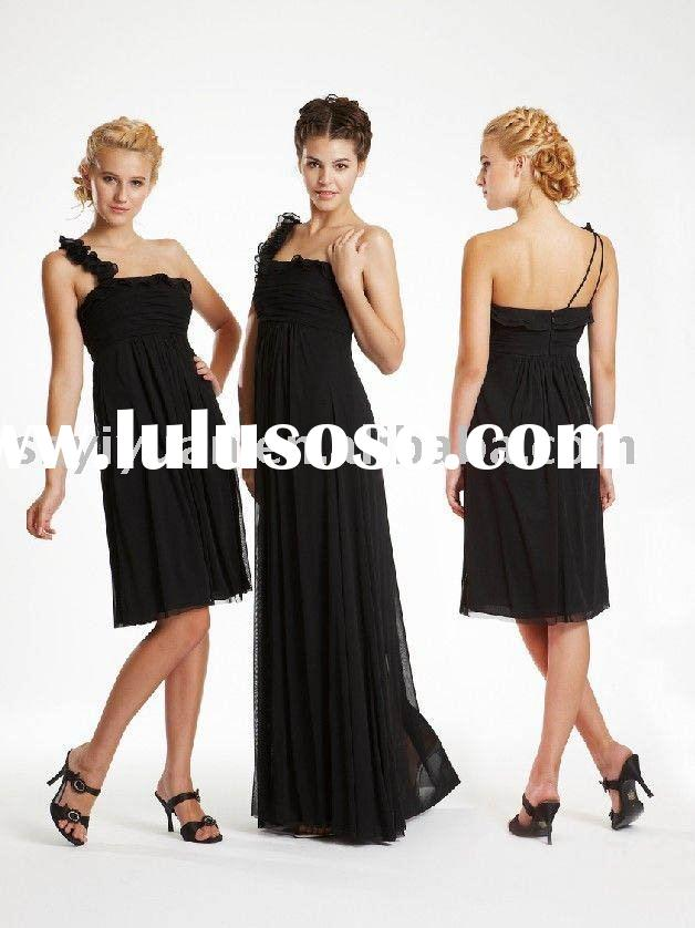 New style elegant one-shoulder black silk chiffon wedding bridesmaid dress 2011