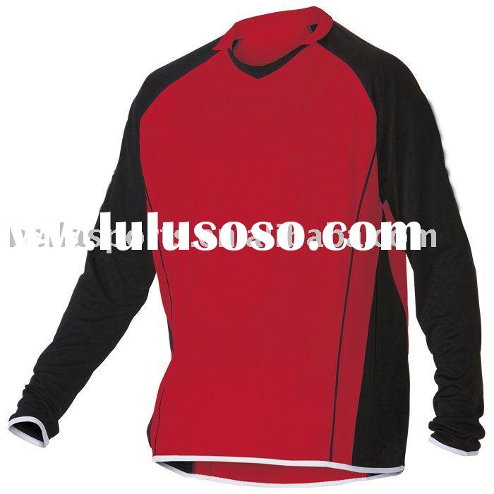 Newest casual T shirt long sleeves,long sleeves soccer jersey/uniform,red/black/white football/socce