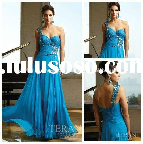 One Shoulder Sweetheart Blue Formal Evening Dress 2012