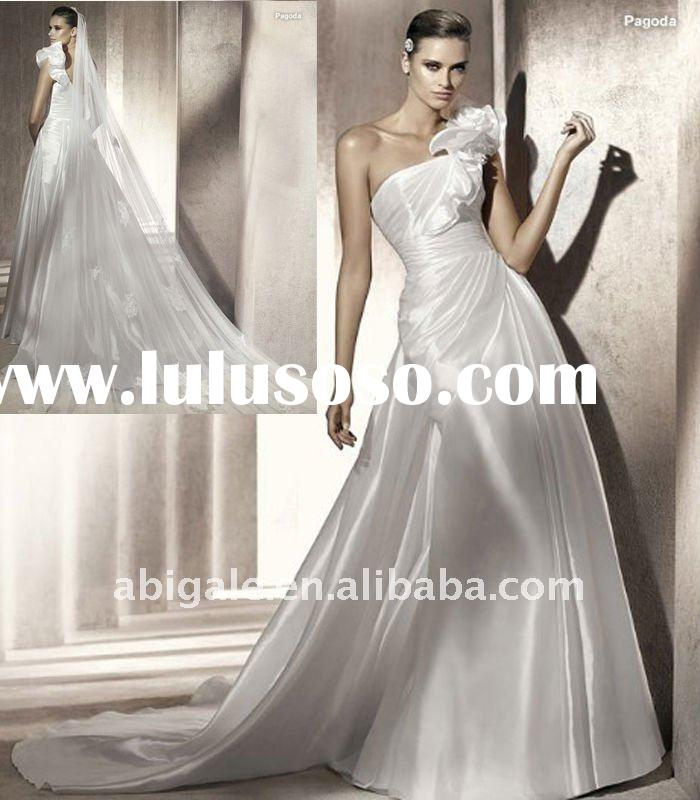One shoulder Sheath Cathedral train Silk satin Custom Wedding Gown(PN10220)