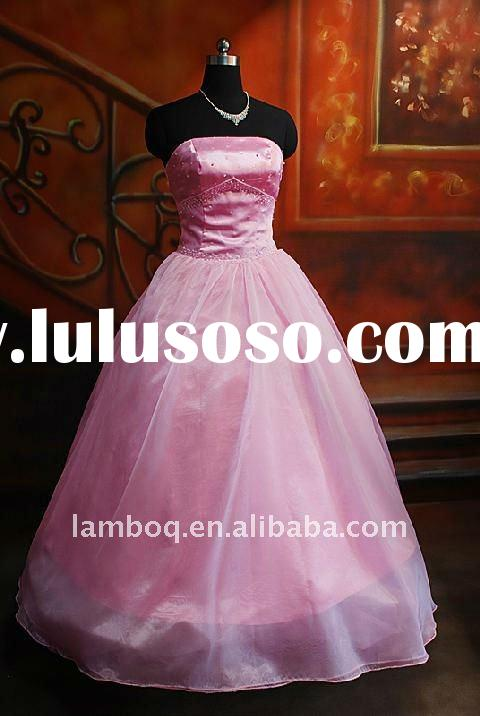 Pink Organza Strapless Beaded Full Length Ball Gown Style Evening Dress