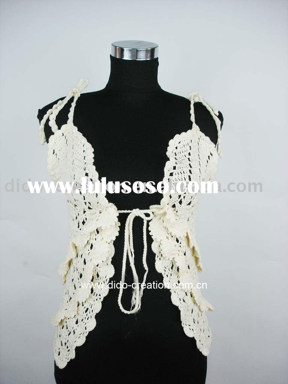 QN12004 Handmade crochet fashion clothes/t-shirt/garment/pullover/lady's vest