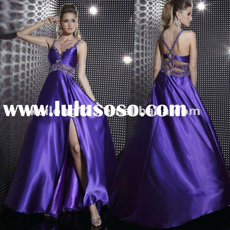 Romantic Spaghetti Strap Beaded Low Back Satin Evening Gown 2012