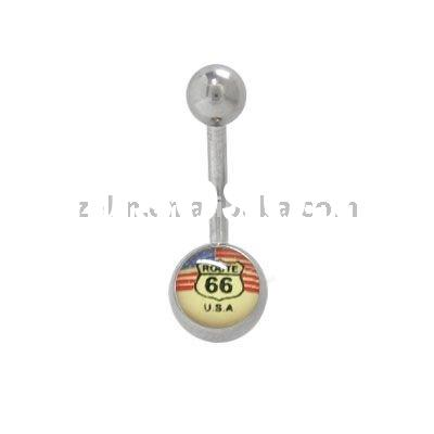Route 66 Belly Ring Surgical Steel Body Jewelry