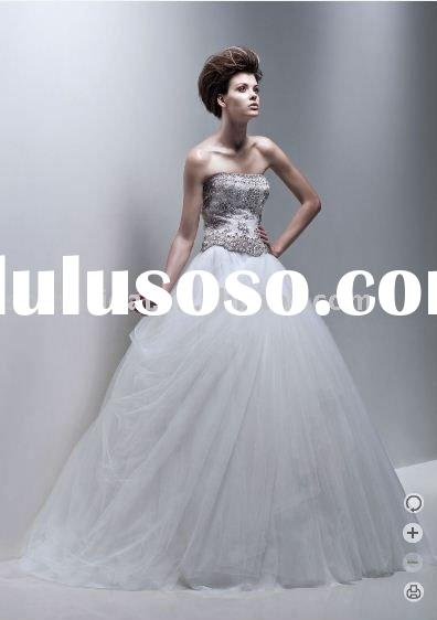 SH0165 strapless ball gown beaded tulle wedding dress