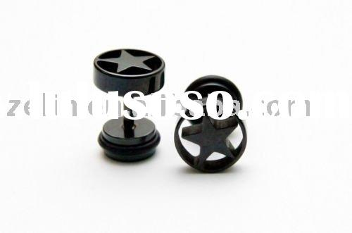 STAR fake EAR PLUG earrings Piercing PAIR men STUD blk,ear jewelry,body jewelry