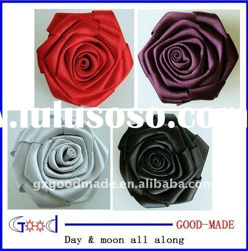 Satin Ribbon rose Flower with pin clip