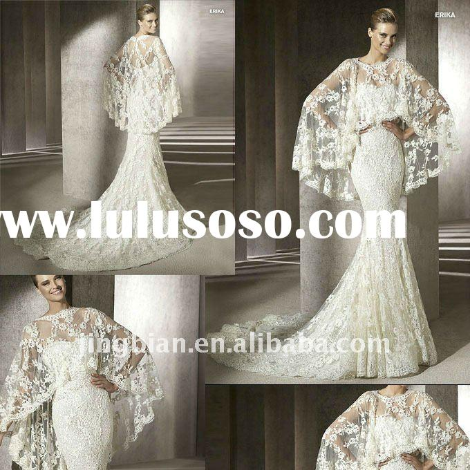 Satin Sweetheart Unique Wedding Dress with Stunning Lace Tippet and Mermaid Train 2012 Glamour Desig