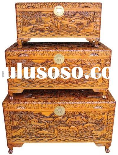 Solid wood hand carved antique chest and jewellery box