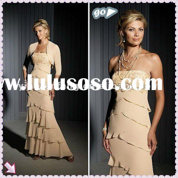 Speacial Design 2012 Sleeveless Ruffl Applique Sheath Chiffon Mother Of The Bride Dresses
