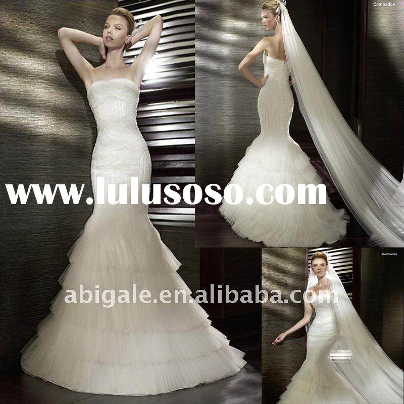 Strapless Mermaid Cathedral train Tulle Designer Wedding Gown(PN10108)