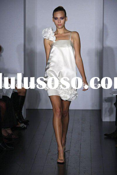 Style RZ-ed126 2012 spaghetti strap handmade white satin mini evening dresses