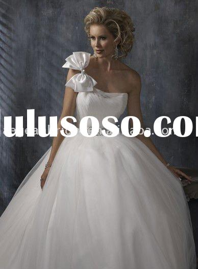 Style RZ-wd120 Customed one shoulder beaded tulle ball gown grecian style wedding dresses