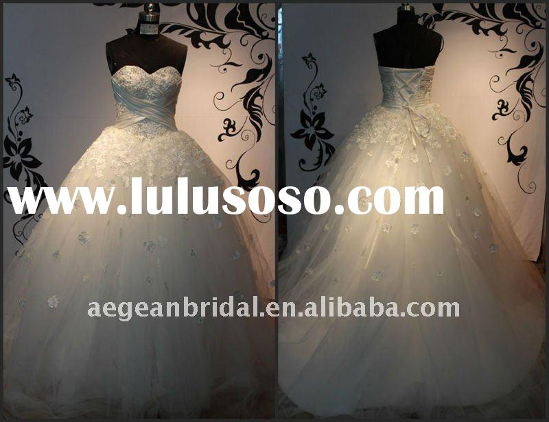 Style ZS-a0125 sweetheart appliqued beaded ball gown hot selling wedding dress