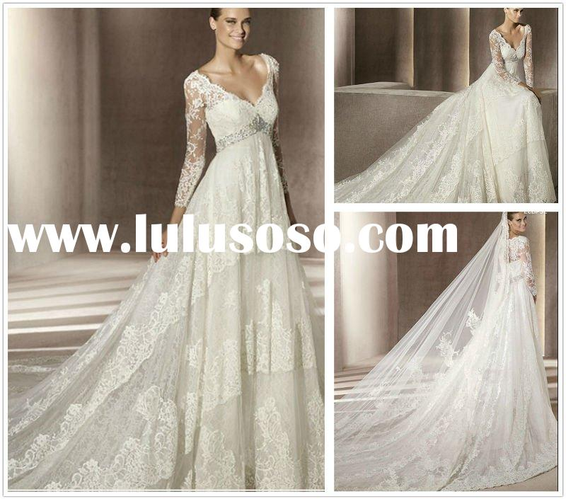 Stylish V-Neck Beads Working Lace 2012 Long Sleeve Wedding Dresses--WD1206