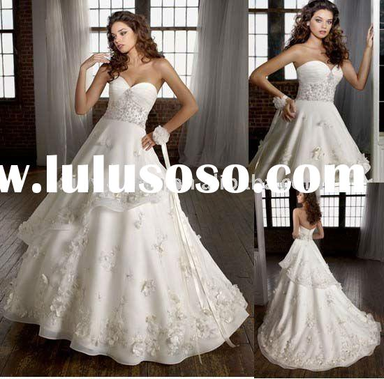 Sweetheart Neck Court Train Wedding Dress 2012 Hand Flowers Bridal Wedding Gown MLW-401 Top Workmans