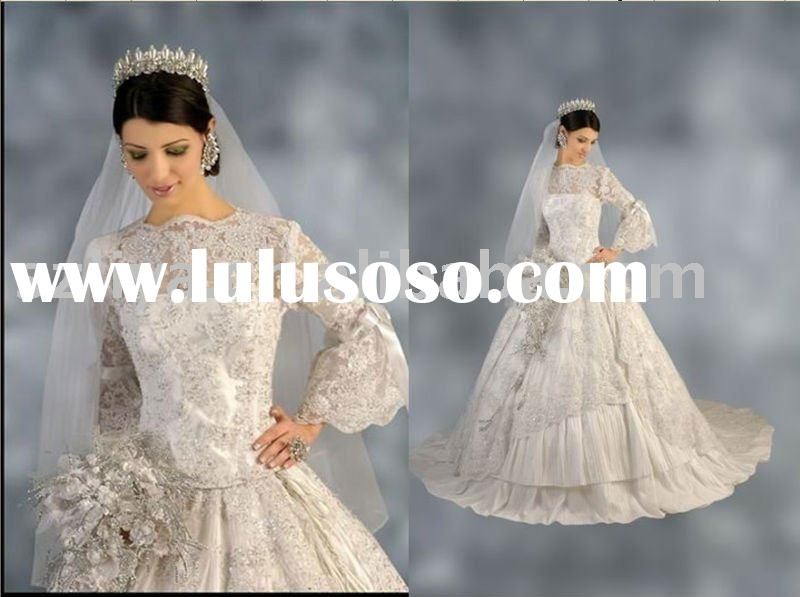 Taffeta ivory Fashion Design Long sleeve Embroidered wedding gown SHS764