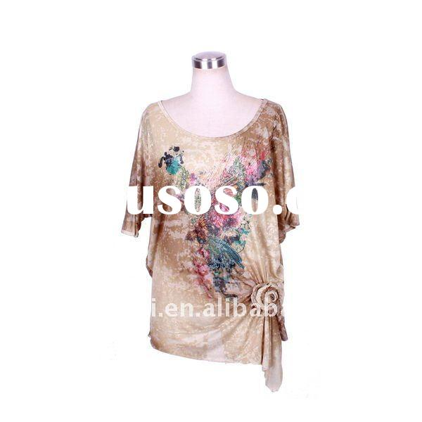 The newest around neck women sublimation tshirt with short sleeve&self-flower, beading in 2011