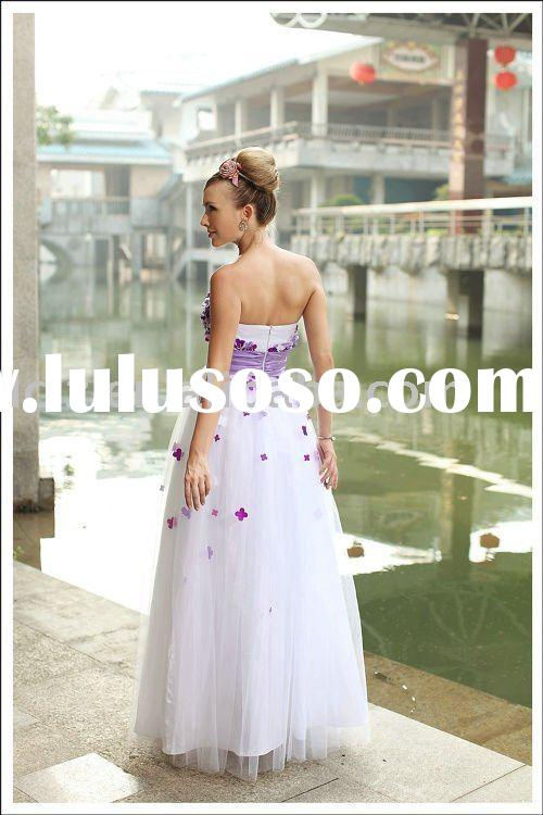 Top quality D30261 purple,white wedding gown strapless backless appliqued flower tulle taffeta