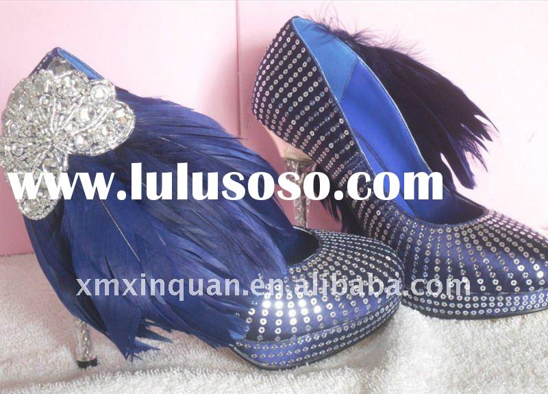 WS215 Glitter navy blue feahter bridal shoes