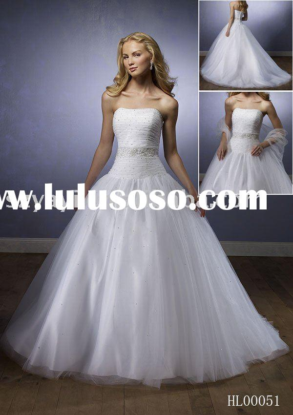 With petticoat princess white tulle satin beaded bridal wedding dress gown HL00051