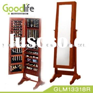 Wooden standing dressing mirror with cabinet