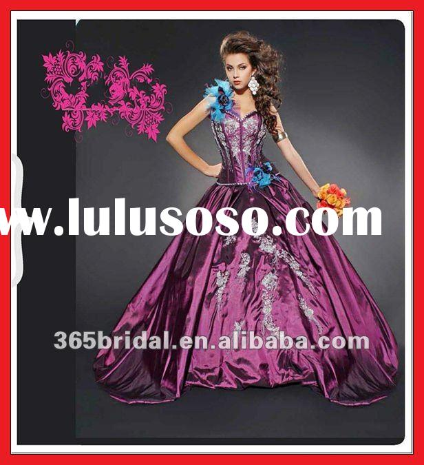 ZHX0920 Gorgeous Embroidered Purple Taffeta Ball Gown Quinceanera Dress Gowns