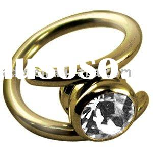 Zircon Gold Gripper Nose Ring Crystal Clear