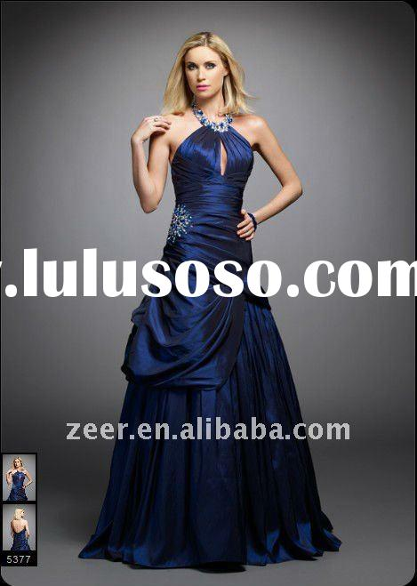 a line royal blue taffeta pleat bodice dropped waist prom dresses 2012 N2388