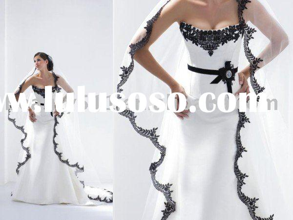 beautiful embroidery black lace wedding dress,bridal dresswdx195