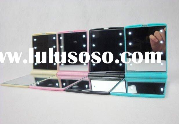 bright color 8 LED light folded cosmetic mirror , available in various colors