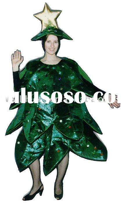 christmas tree costume,festival fur mascot,advertising adult party costume