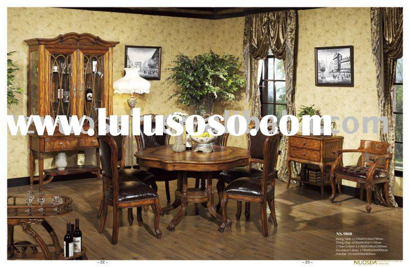 classical wood round table chair sets NS-9808