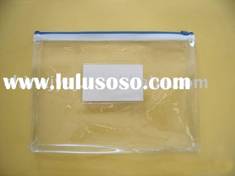clear pvc bag (pvc zipper bag) with pocket