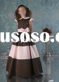 coffee and pink vintage flower girl dresses