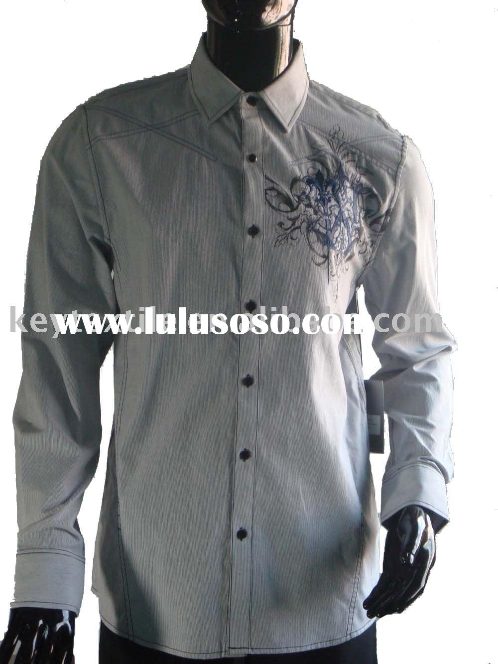 cotton long-sleeve embroidery men's shirt