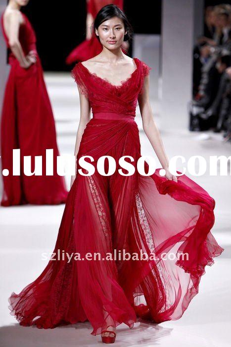 customer made elie saab red chiffon chinese style gown