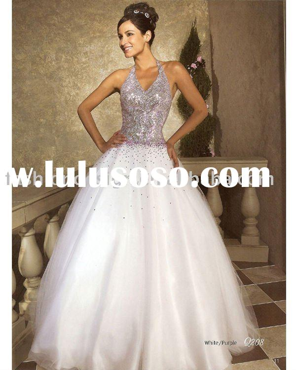 elegant white purple beaded crystals Quinceanera Ball gowns,bridesmaid prom dresses QB033