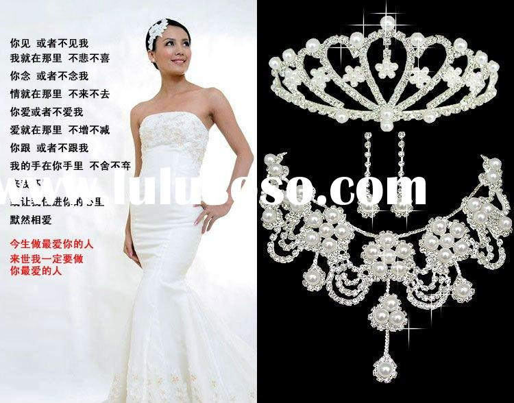 fashion pearls bridal necklace jewelry rhinestone necklace india wedding jewelry set