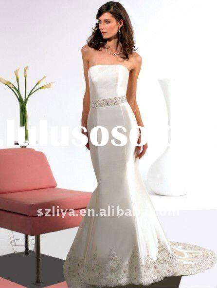 fishtail off-shoulder lace beaded taffeta bridal wedding dress