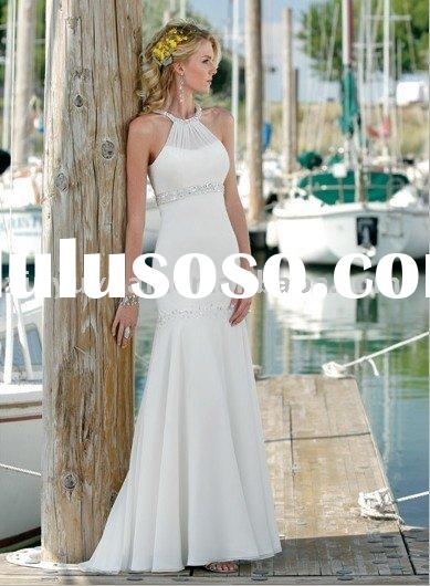 fit and flare gown with halter neckline and zipper closure,cheap beaded beach casual wedding dress M