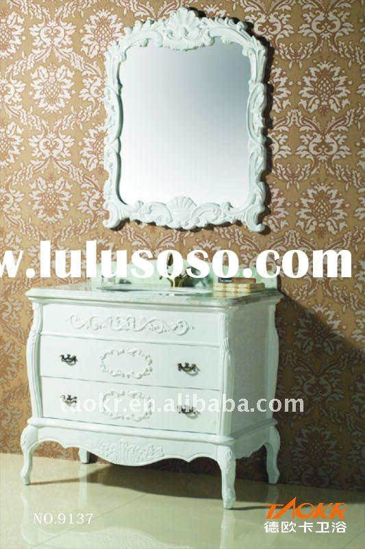 free standing antique style marble counter solid wood bathroom vanitys