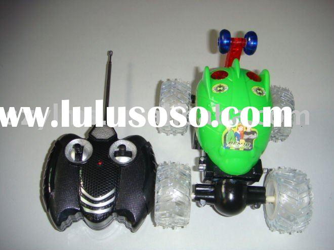 green electronic rc car with light and sound