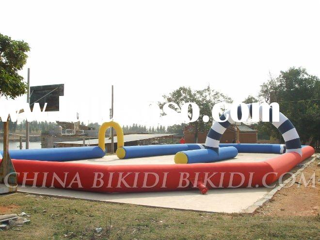 inflatable race track for go karts, tricycles, pedal cars, barrel racers, toilet racers, bathtub rac