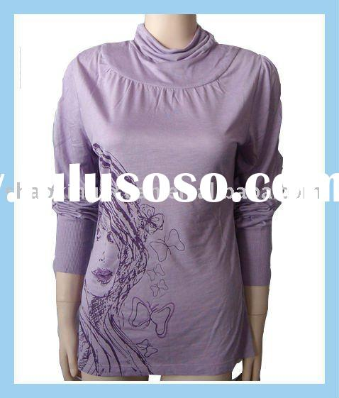 lady's long sleeve high neck t-shirt