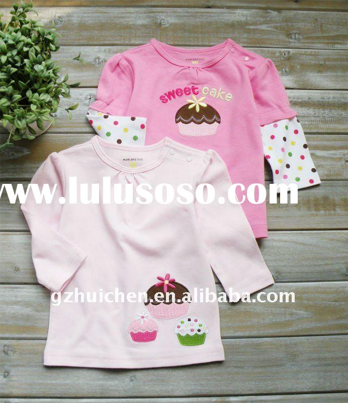 mom and bab 2012 spring baby clothes 100% cotton embroider long sleeve T-shirt