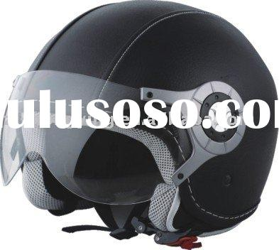 motorcycle helmet leather covered ECE safety factory